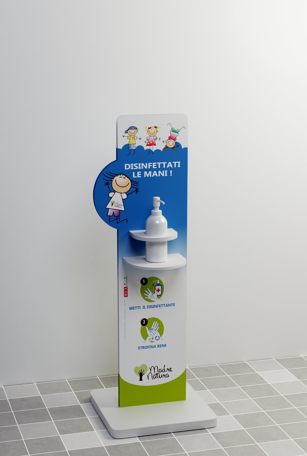 Totem dispenser per gel disinfettante mini bambini